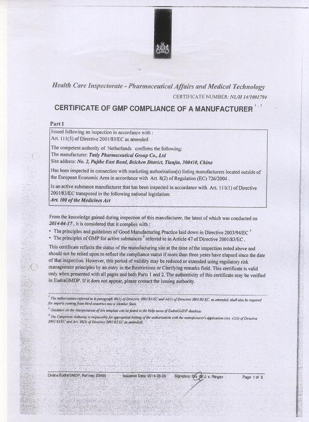 Certificate of GMP compliance of a Manufacturer